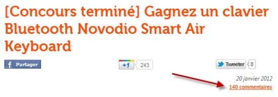Tirage au sort du gagnant du clavier Bluetooth Novodio Smart Air Keyboard