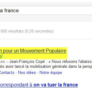 "L'UMP : ""on va tuer la France"" selon Google"