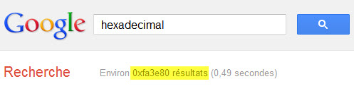 "Google : tapez ""hexadecimal"" et regardez..."