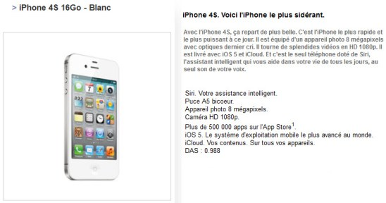 Free Mobile : iPhone 4S 16Go