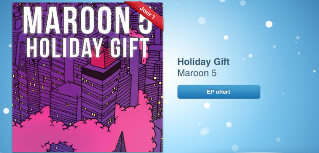 12 jours cadeaux iTunes 2012 – Jour 1 : Maroon 5 - Holiday Gift