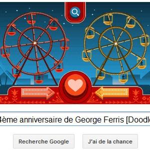 Google fête la St Valentin mais aussi le 154ème anniversaire de Georges Ferris [Doodle]