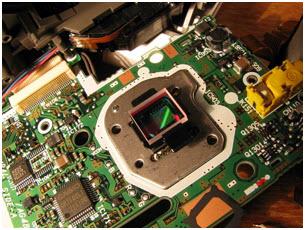 Capteur optique dans un appareil photo digital.