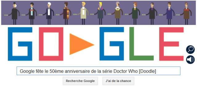 Google fête le 50ème anniversaire de la série Doctor Who [Doodle]