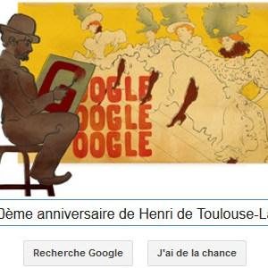 Google fête le 150ème anniversaire de Henri de Toulouse-Lautrec [Doodle]