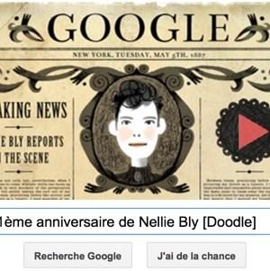 Google fête le 151ème anniversaire de Nellie Bly [Doodle]