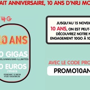 NRJ Mobile propose un forfait tout illimité avec 10 Go d'internet en 4G à 10€/mois pendant 12 mois!