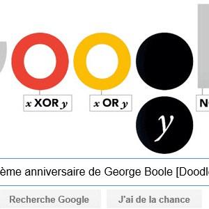 Google fête le 200ème anniversaire de George Boole [Doodle]