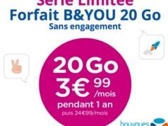 Bouygues Télécom brade son forfait 20 Go à 3,99€/mois
