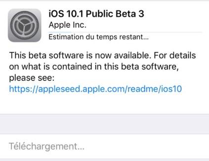 L'iOS 10.1 bêta 3 est disponible pour les développeurs et le public
