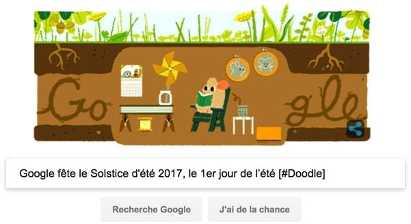 Google fête le Solstice d'été 2017, le 1er jour de l'été [#Doodle]