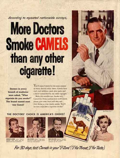 Smoking ads used doctors to espouse the health benefits of cigarettes