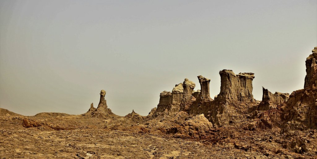 Rocky stone formations in Ethiopia's naturally dry Danakil Desert