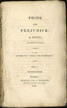 Frontespizio della prima edizione di Pride and Prejudice