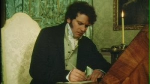 Mr Darcy (Colin Firth) mentre scrive