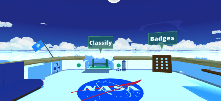 NASA's NeMO-Net game lobby. Screenshot courtesy of NASA.