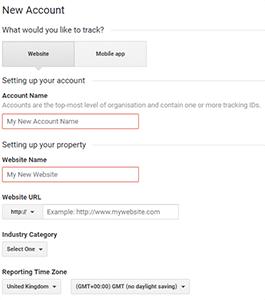 Google Analytics Account Example