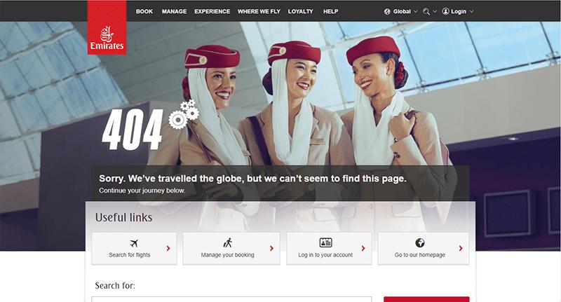 Emirates 404 Error Page Example