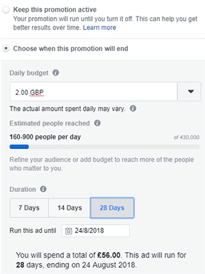 Facebook advertising small business budget