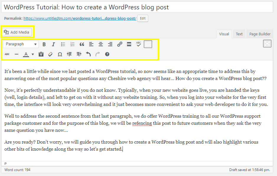 WordPress Tutorial: Add Content