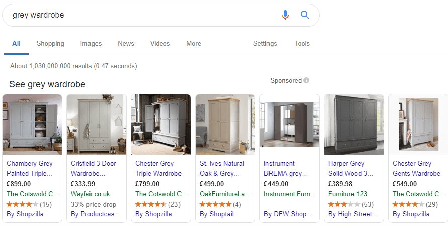 Example of Google Shopping