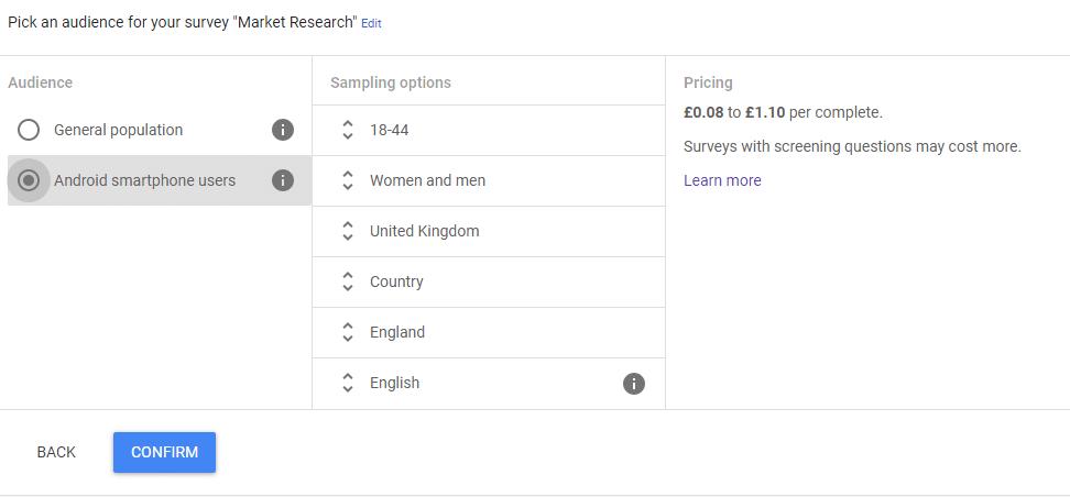 Google Surveys: Create Target Audience