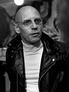 Michel Foucault in leather jacket.