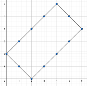 random walk or paths on a grid to get from 2 to 4 in six moves
