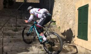 Peter Sagan climbs the stairs in Mallorca