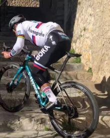 Peter Sagan climbs the stairs in Mallorca