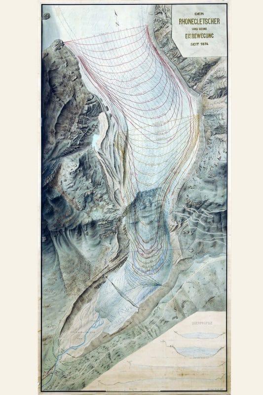 Ghiacciaio del Rodano: Carta del fronte del ghiacciaio in scala 1: 2000, pubblicata nel 1882