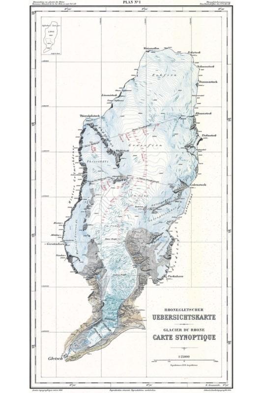 Ghiacciaio del Rodano: Carta dell'intero ghiacciaio  in scala 1: 25 000, pubblicata nel 1916