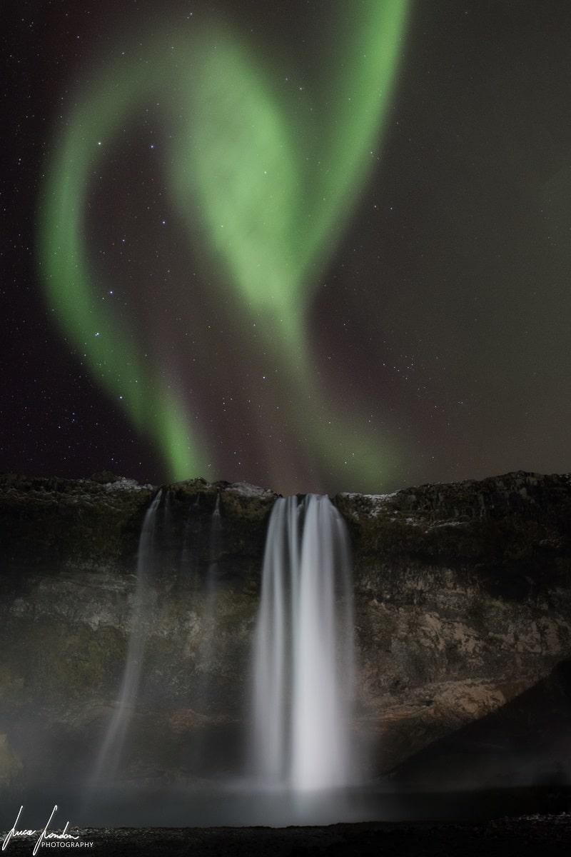 Aurora Boreale in Islanda: Seljalandfoss
