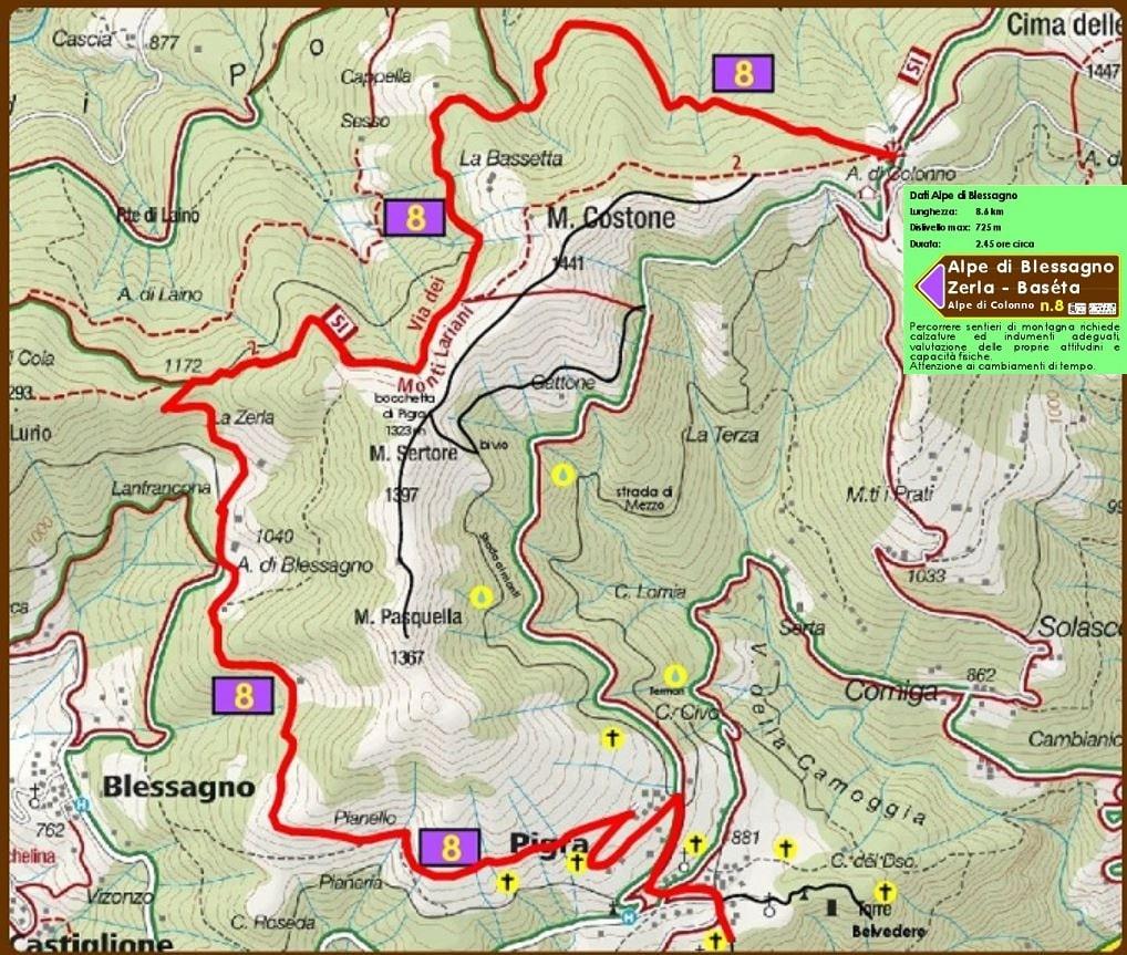 Pigra: mappa sentiero 8