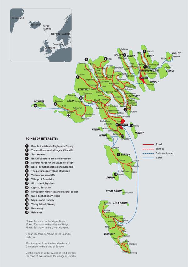 Itinerario alle Faroe: Mappa delle isole Faroe