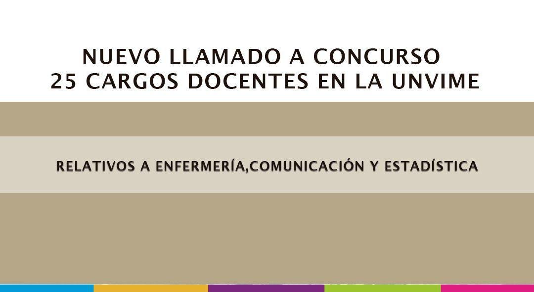 NUEVO LLAMADO A CONCURSO     25 cargos docentes en la UNViMe