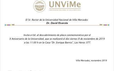 Invitación a Descubrimiento de Placa Conmemorativa por el X Aniversario de la Universidad