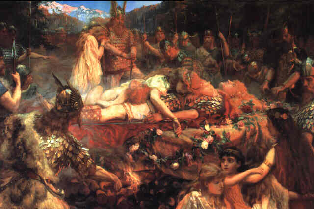 """Death of a Viking Warrior"" (1909), Charles Ernest Butler [Public domain], via Wikimedia Commons"