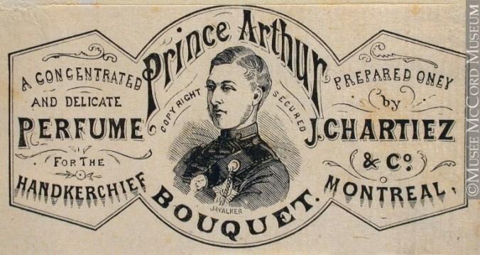 Commercial label of Prince Arthur Bouquet, perfume for the handkerchief, J. Chartiez & Co. John Henry Walker (1831-1899) 1850-1885, Gift of Mr. David Ross McCord, McCord Museum, M930.50.5.143 CC by 2.5
