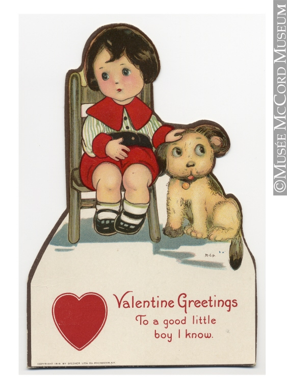 """Valentine Greetings to a Good Little Boy I Know,"" Greeting card, Valentine, 1900-1960, 20th century (Source: McCord Museum)"