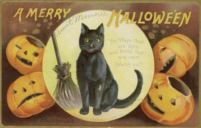"Depicts black cat and broomstick in a large circle , with two carved pumpkins on each side of circle. Greeting: "" A Merry Hallowe'en. For Ways that are dark and tricks that are vain. Watch out!"" Inscription underneath the black cat is : ""Painting only copyrighted by S. Garre 1909."""