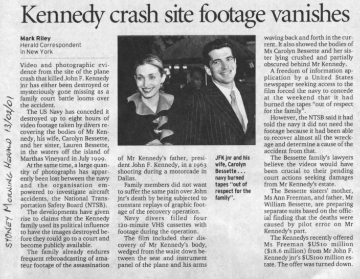 Eight hours of video footage taken by recovery divers might have helped to solve the mystery, but the Navy preferred to destroyed them (Sidney Morning Herald, February 13, 2001)