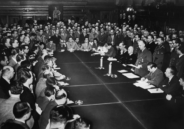 Foreign Minister Joachim von Ribbentrop announces Germany's declaration of war against the Soviet Union. At a meeting room packed with foreign correspondents and journalists representing the German press, he reads the text of the lengthy diplomatic note to the Soviet government, which explains in some detail the reasons for the decision to attack the USSR. His reading of the statement on Sunday morning, June 22, 1941, is broadcast to the world on German radio.