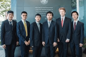 2018 Math Olympiad, US First! Team: Adam Ardeishar, Andrew Gu, Vincent Huang, James Lin, Michael Ren and Mihir Singhal.