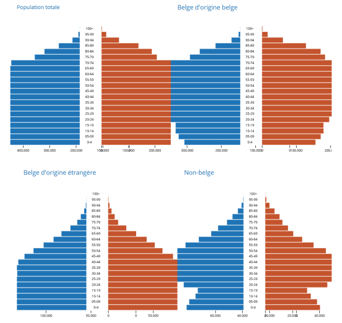 Population pyramids for the whole Belgian population, native Belgians, Belgian citizens of foreign origin, and non-citizens. (Source: Statbel)