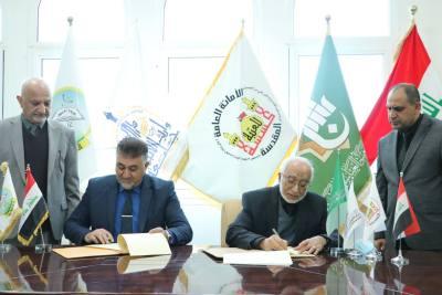 جامعة الحمدانية تعقد اتفاقية توأمة علمية مع جامعة وارث الانبياء_ العتبة الحسينية المقدسة