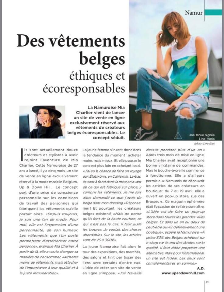 A propos d'Up & Down Hill dans le magazine Hello Namur. Découvrez Up & Down Hill via la presse belge.