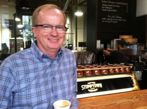 New Program Coordinator, Brian, loves to drink coffee.