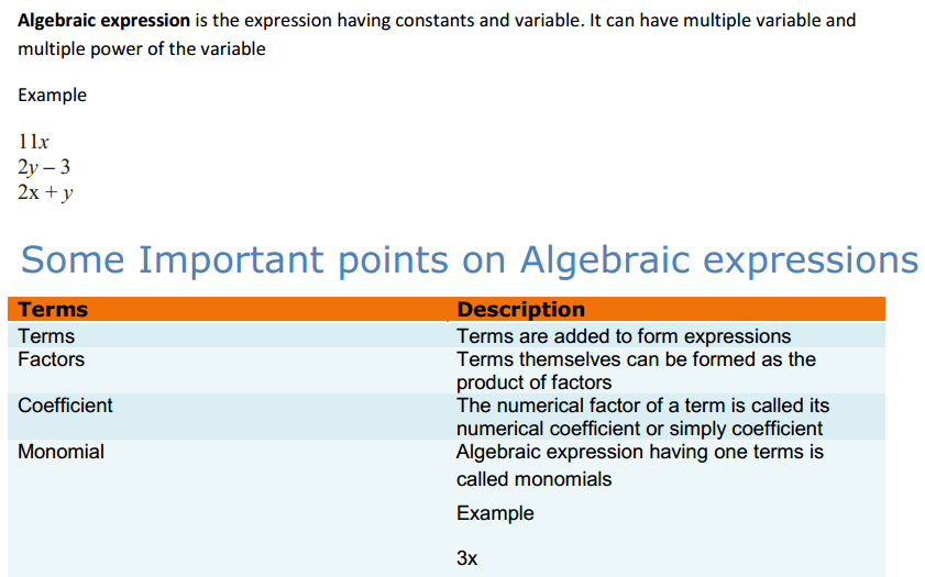 Algebraic Expressions and Identities Formulas Class 8 Q1