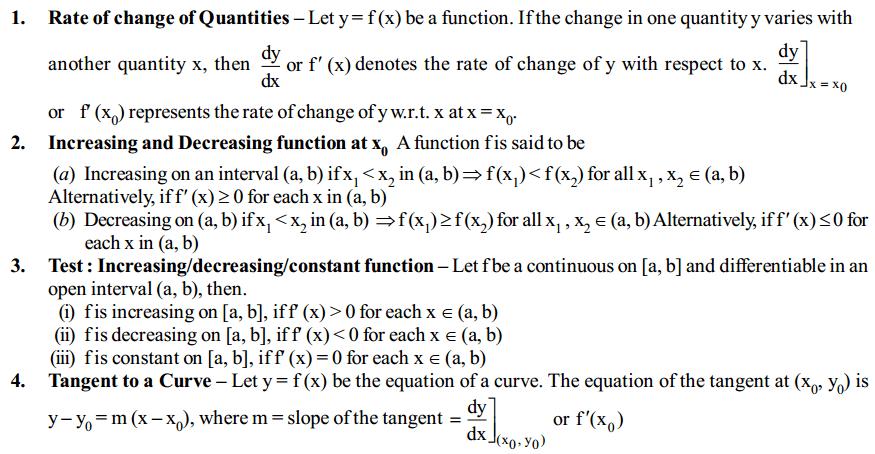 Application of Derivatives Formulas for Class 12 Q1